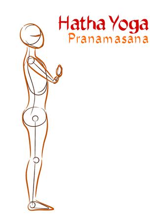 Vector Hatha Yoga Pranamasana on a white background