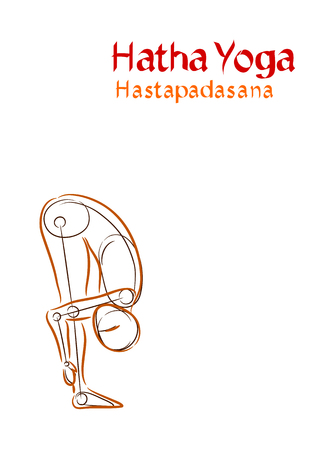 hatha: Vector Hatha Yoga Hastapadasana on a white background