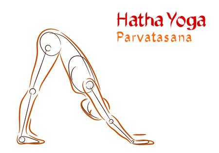 hatha: Vector Hatha Yoga Parvatasana on a white background