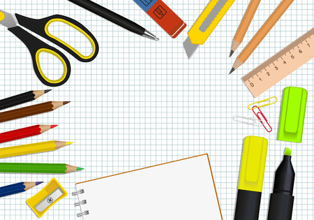 vector set of office supplies and stationery notebook