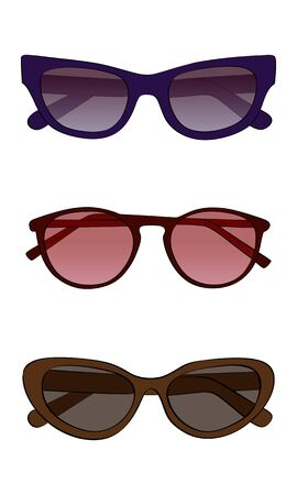 Vector sunglasses with colored glass on a white background