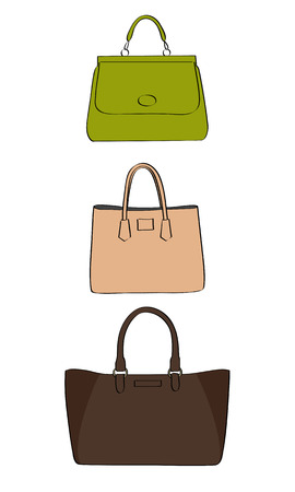 Vector colored handbags on a white background Vectores