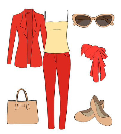 A set of women clothes and accessories on a white background