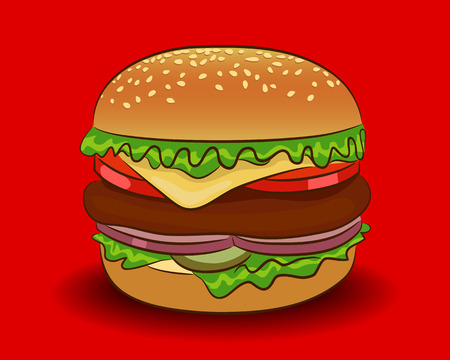 Vector classic burger on a red background Ilustracja