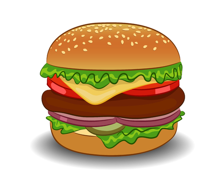 Vector classic burger on a white background