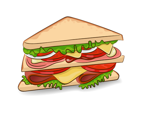 Vector classic sandwich on a white background