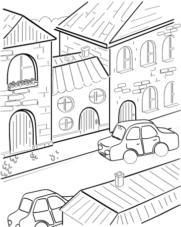 neighbourhood: Vector cartoon street and machines and cat