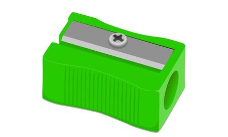 Vector Sacapuntas de lápiz verde sobre un fondo blanco