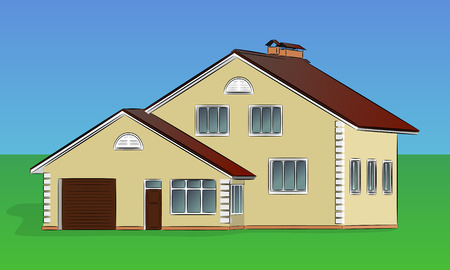 vent: Vector two-storey private house with a garage and a vent pipe Illustration