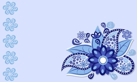 modern frame: The frame of the blue flower flourishes and doodles