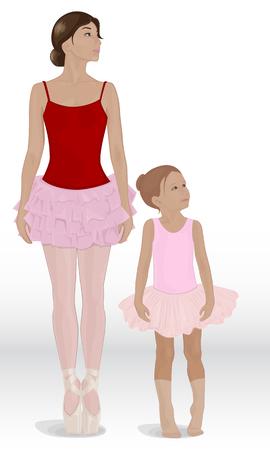 teaches: Mom teaches daughter ballerina pink ballet tutu