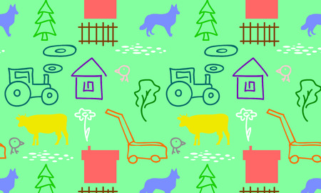 cows red barn: seamless pattern with a farm tractor and mower cow house