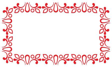 lineas decorativas: Marco ornamental rojo de rizos y garabatos