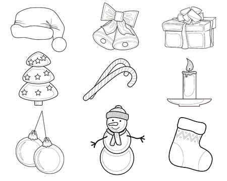 Christmas Set of Christmas characters such as snowmen and bells