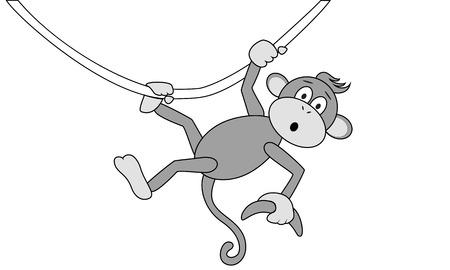 Monkey with a banana hanging on the vine Ilustracja