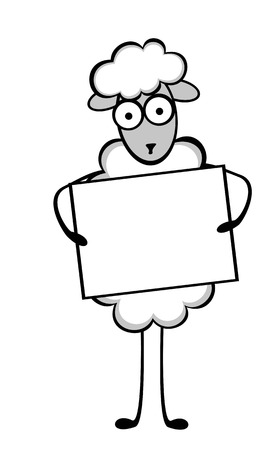 Funny young sheep in different situations of life