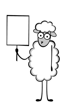 situations: Funny young sheep in different situations of life