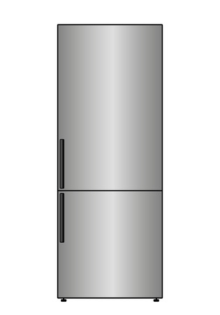 Vector Fridge dual-chamber on a white background Vectores