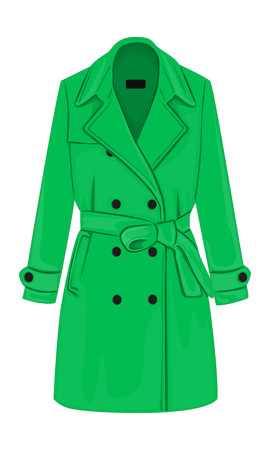 rain coat: Womens demi-season double-breasted coat with a belt