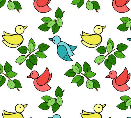 Pattern with birds and leaves on a white background