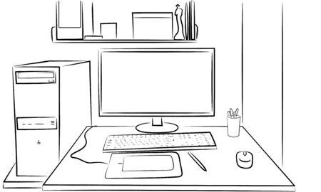 Funcionamiento de un teclado del monitor del ordenador y el ratón Foto de archivo - 59715437