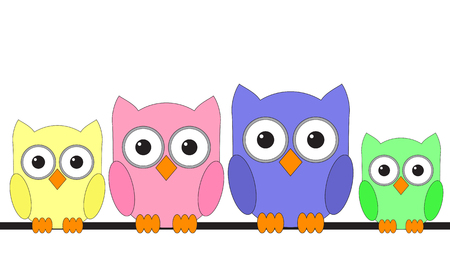 Owls are sitting on a wire cartoon with big eyes