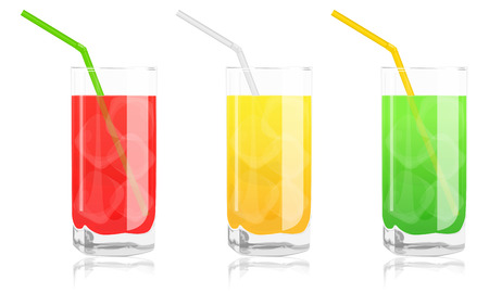 colored cocktails in glass jars with straws