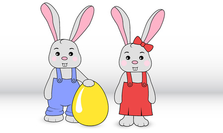 Rabbits boy and girl in overalls with egg