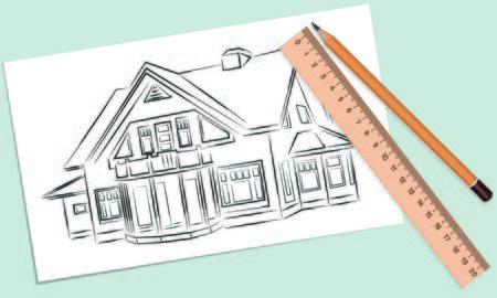 Bosquejo de la casa en un pedazo blanco de lápiz y regla Foto de archivo - 62046548