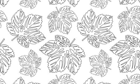 black and white seamless with leaves pattern