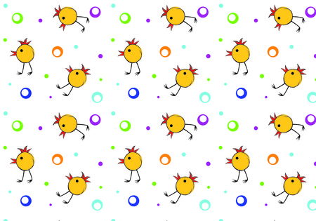 Seamless pattern of small chicks and beads on a white background