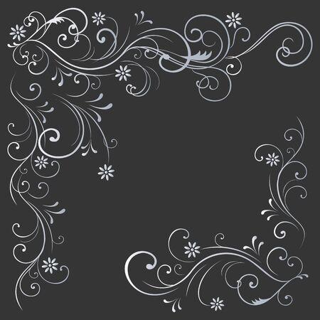 Estampado de flores rizos blancos sobre un fondo negro Foto de archivo - 62047323