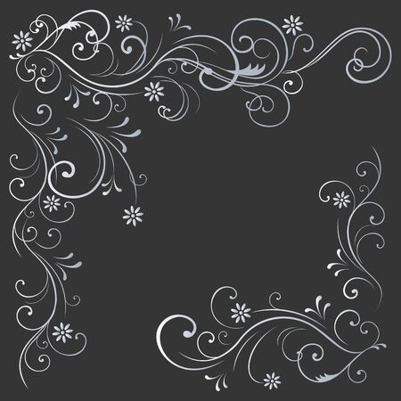 floral pattern white curls on a black background