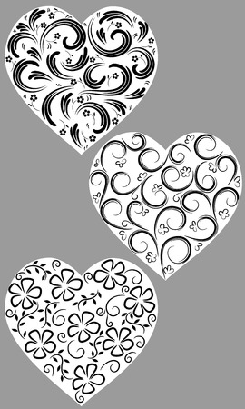 Three hearts from curls on a homogeneous background Vectores