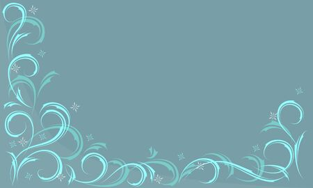 blue background Frosty pattern with swirls and feathers Ilustracja