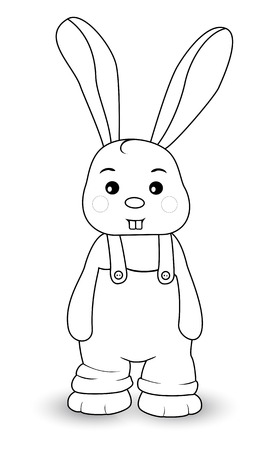 overalls: Rabbit boy in overalls on a white background