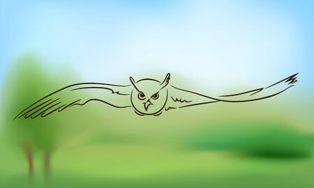 Flying owl with outstretched wings on the background of nature