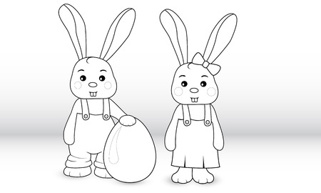 overalls: Rabbits boy and girl in overalls with egg