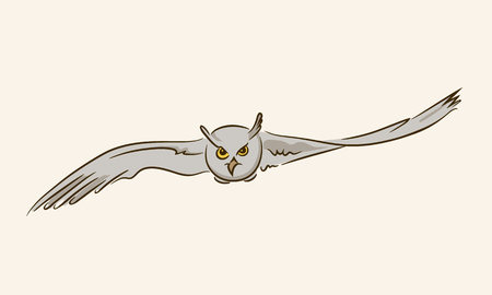 Flying owl with outstretched wings on a beige background