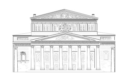 Facade with columns of the Bolshoi Theater in Moscow, Russia Ilustração