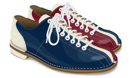 Bowling shoes red and blue with white laces