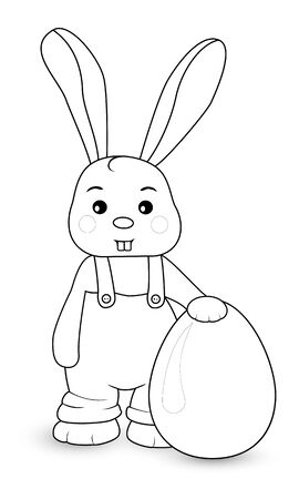 Rabbit boy stands in overalls with egg Vectores