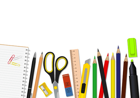 Vector set of school supplies on a white background