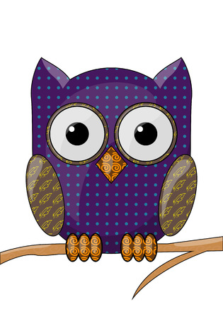 Vector owl with a pattern on a white background Ilustração