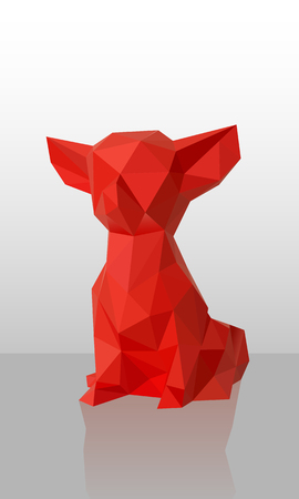 Vector Red Low poly dog red paper