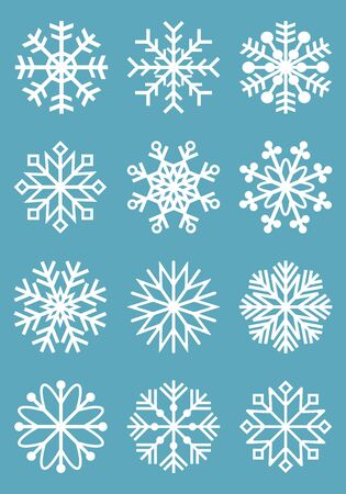 Set of vector snowflakes on a blue background Vectores