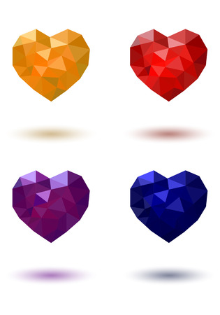 red yellow: Polygonal heart Red Yellow Blue Purple on a white background