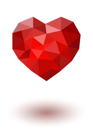 Red polygonal heart. Vector on white board