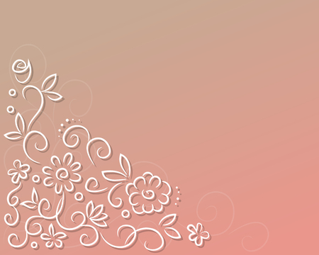 White vector flowers on a pink background