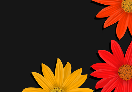 Vibrant vector flowers on a dark background